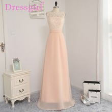 Dressgirl 2017 Cheap Bridesmaid Dresses Under 50 A-line See Through Floor Length Coral Chiffon Lace Wedding Party Dresses