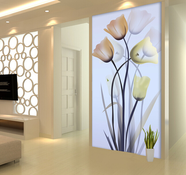 3D Wall Painting luxury best silk hd 3d tulip flower large mural wall painting home