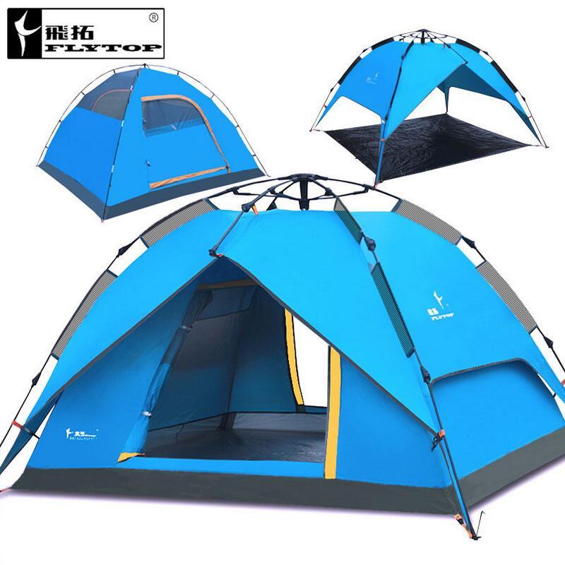 Flytop extérieur Tourisme équipement camping tente famille pour la plage de  pêche jardin auvent voyage 3-4 personne tente automatique 5bace84018c9