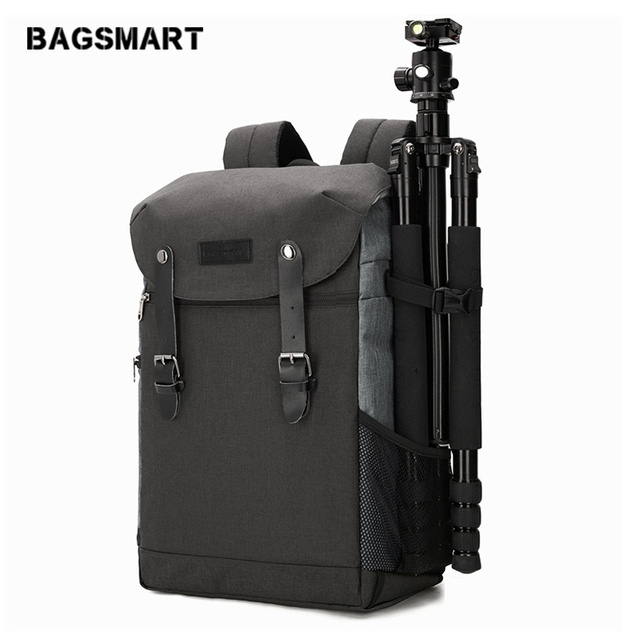 BAGSMART Men Backpack 15.6 Inch Laptop Backpack DSLR Bag Waterproof Rain Cover Bag  Camera Accessories Backpack