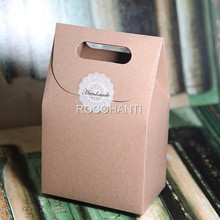 50Pcs Handle Gift Box Kraft Paper Zakka Wedding Favor Candy Boxes Craft Bakery Cookies Biscuits Package Bags Custom LOGO Printed
