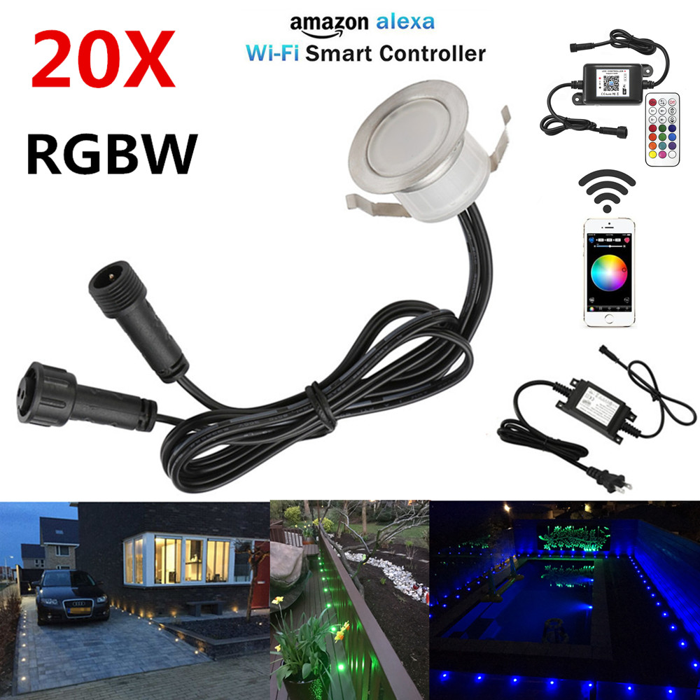 20pcs/set Smart Wifi Phone App Control Rgbw 31mm 12v Ip67 Kitchen Stair Step Led Deck Rail Lights For Alexa Googlehome Ifttt With The Most Up-To-Date Equipment And Techniques Lights & Lighting