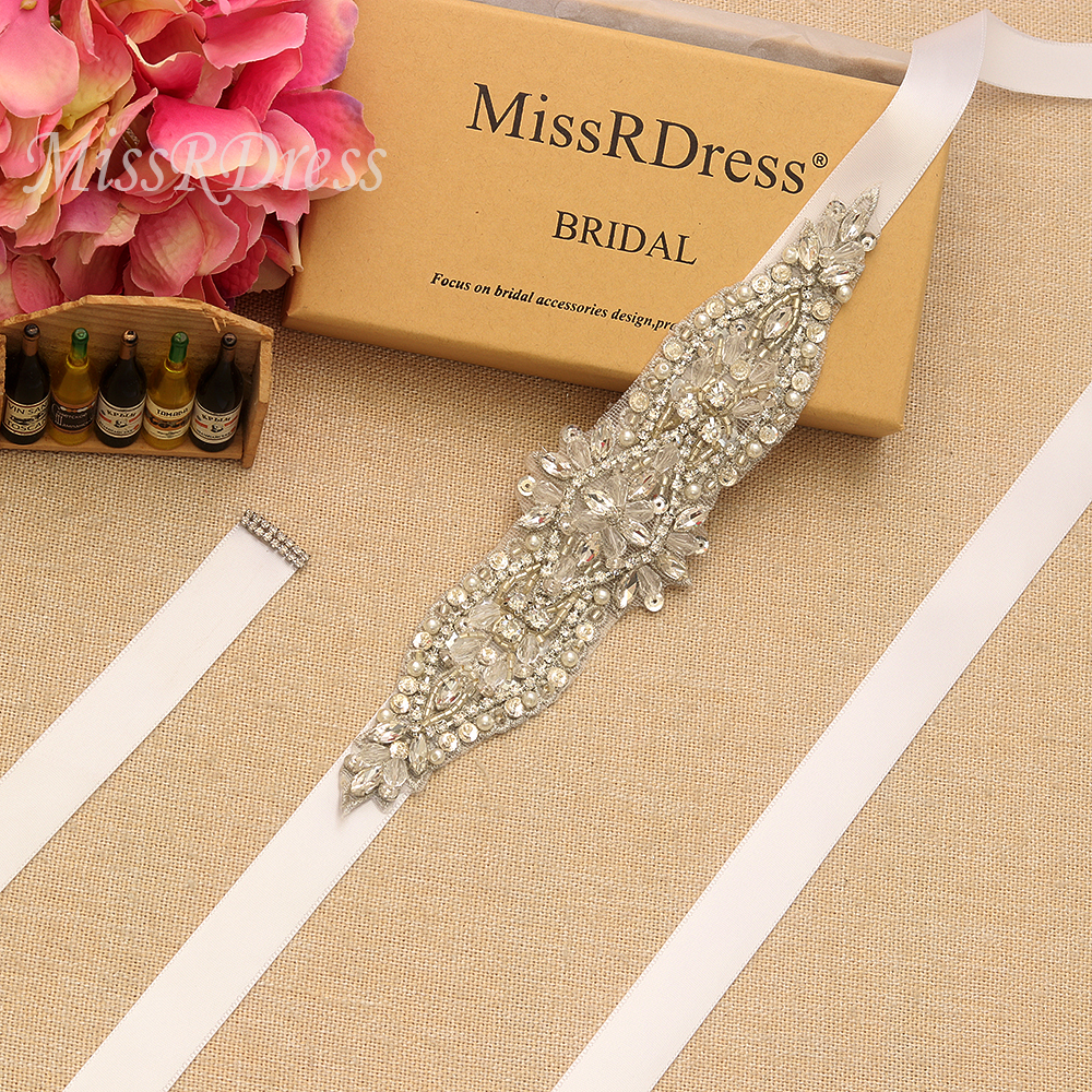 Missrdress Pearls Wedding Belt Silver Rhinestones Bridal Sash Crystal Hand Beaded Bridal Belt For Wedding Party Gown Jk890 Clear-Cut Texture Bridal Blets