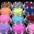 12 Botellas/Set de Uñas holográfico Nail Glitter Polvo Del Polvo de Metal 3D Sugerencia Rhinestone Manicura Herramientas Decoración de Uñas de Arte Polaco