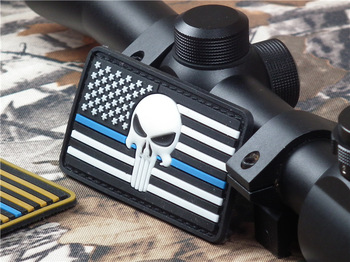 The Thin Blue Line DEVGRU Seal Team Punisher PATCH American flag 3D PVC Patch glow in dark Luminous
