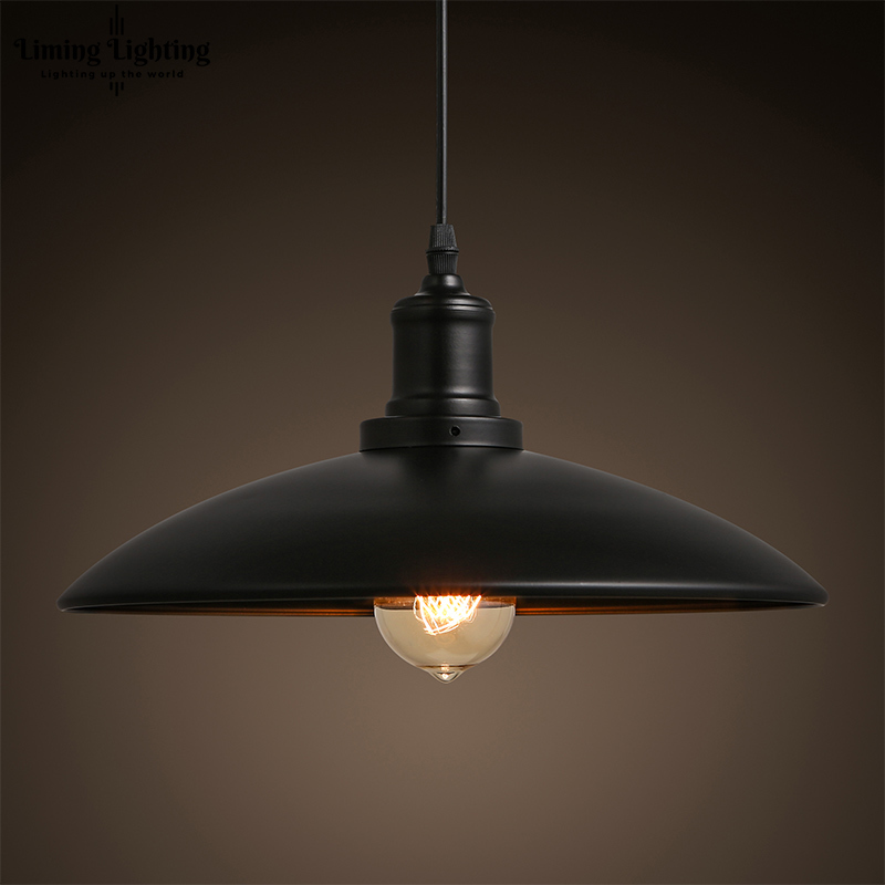 Vintage RH Loft Iron Base Edison LED Bulb Iron Shade Ceiling Hanging Industrial Pendant Lamp Light Lighting E27/E26 110V/220V new loft vintage iron pendant light industrial lighting glass guard design bar cafe restaurant cage pendant lamp hanging lights