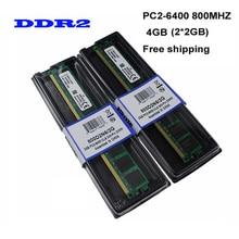 Free Shipping! Brand New 4GB(2pcs*2GB) DDR2 2GB 800Mhz / PC2-6400U For Desktop Ram Memory