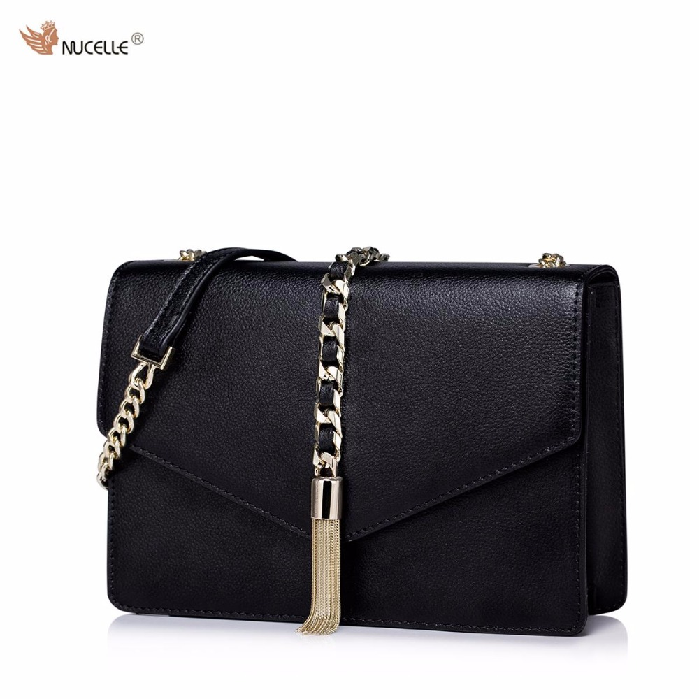 NUCELLE New Brand Design Fashion Women Cow Leather Ladies Girls Chains Shoulder Bag With Tassels Cross body Bags