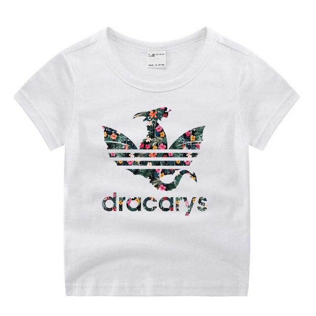 Little Girl Boy Movie Game of Thrones Dracarys Funny Cartoon Print T-shirt Kids Summer O-Neck Tops Children Tshirt