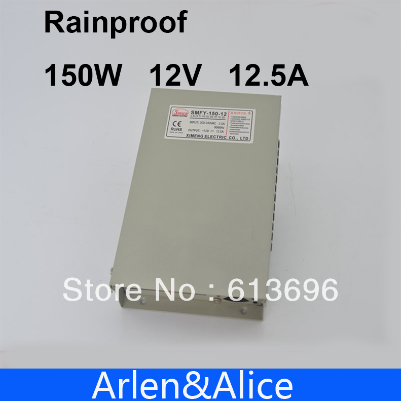 150W 12V 12.5A Rainproof outdoor Single Output Switching power supply smps AC TO DC for LED hot sale 12 volt switching power source supply rainproof 12v 15 200w fy 201 12 16 5a single output china