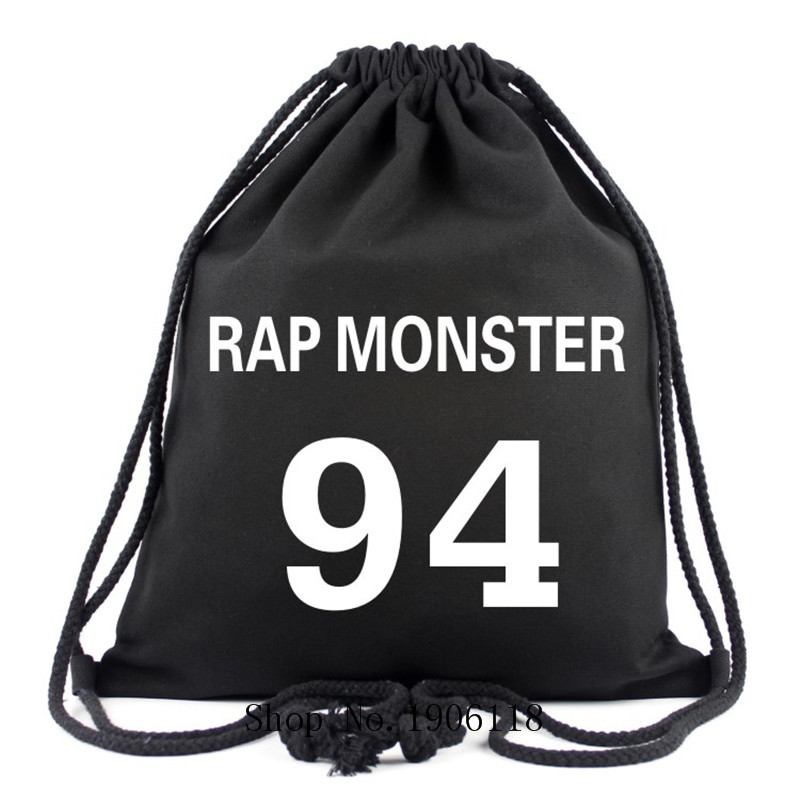 2017 Hot Bangtan Boys BTS Backpack Korean Kpop Stars School Bag Boys Girls Book Bags Rap Monster 94 Canvas Drawstring Bags Gifts
