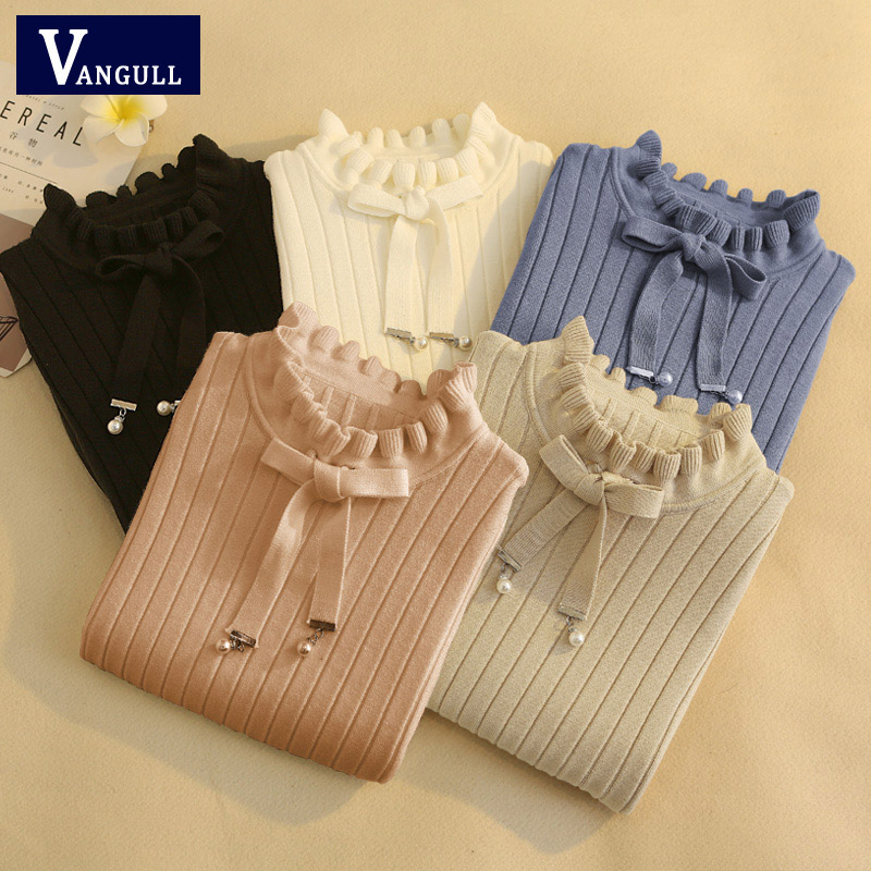 Vangull Casual Spring Slim Sweater Winter Knitted Sweater New Lace Up Flare Long Sleeve Ruffle Knitting Pullover Women Sweaters