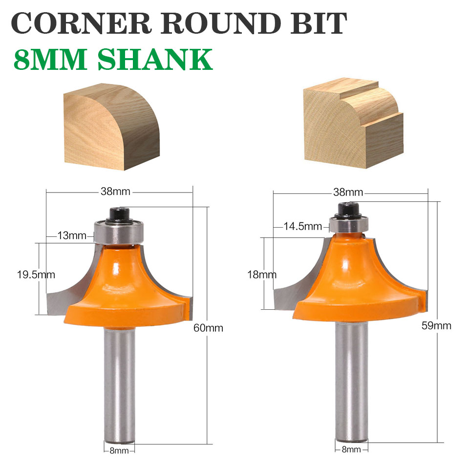 1pc <font><b>8mm</b></font> Shank Round-Over Router Bits for <font><b>wood</b></font> Woodworking Tool 2 flute endmill with bearing milling <font><b>cutter</b></font> Corner Round Over Bit image
