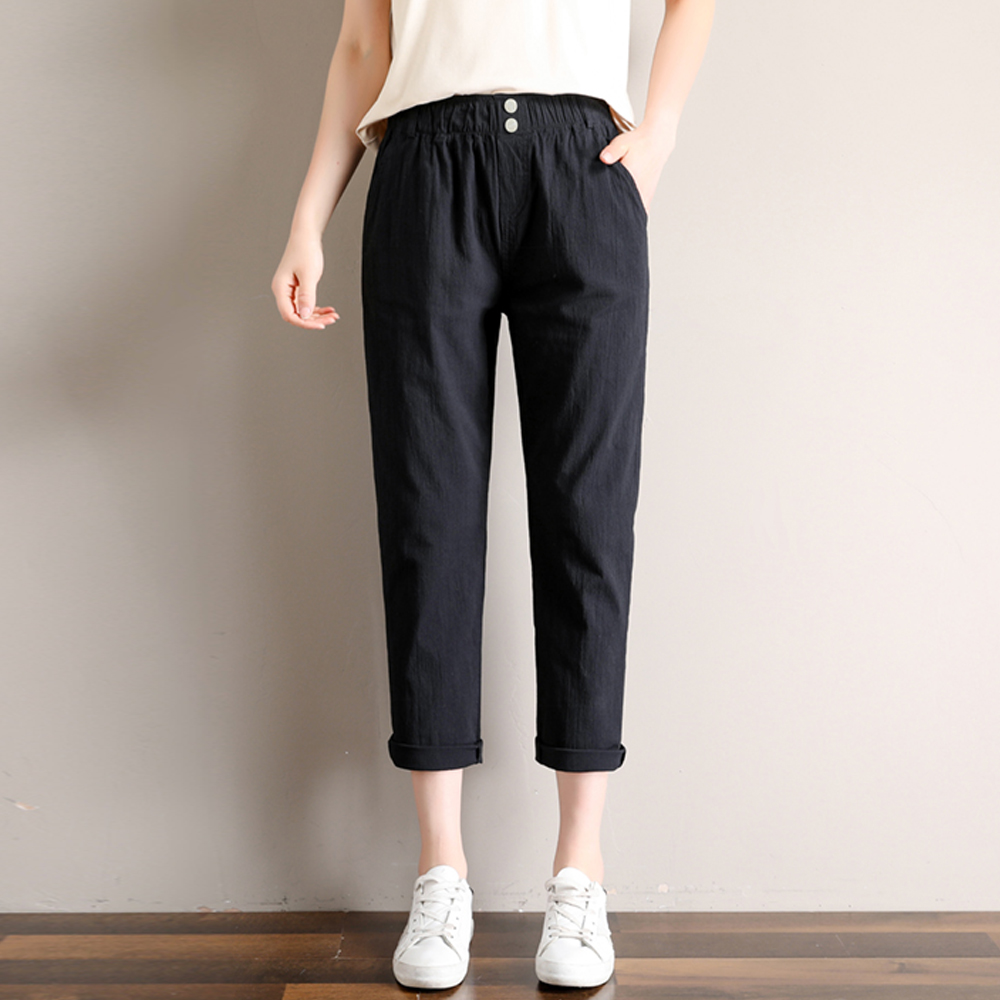 Women's Elegant Casual Cotton Linen   Pants   Summer Fashion Ankle-Length Harem   Pants   Loose High Waist Thin   Pants     Capris