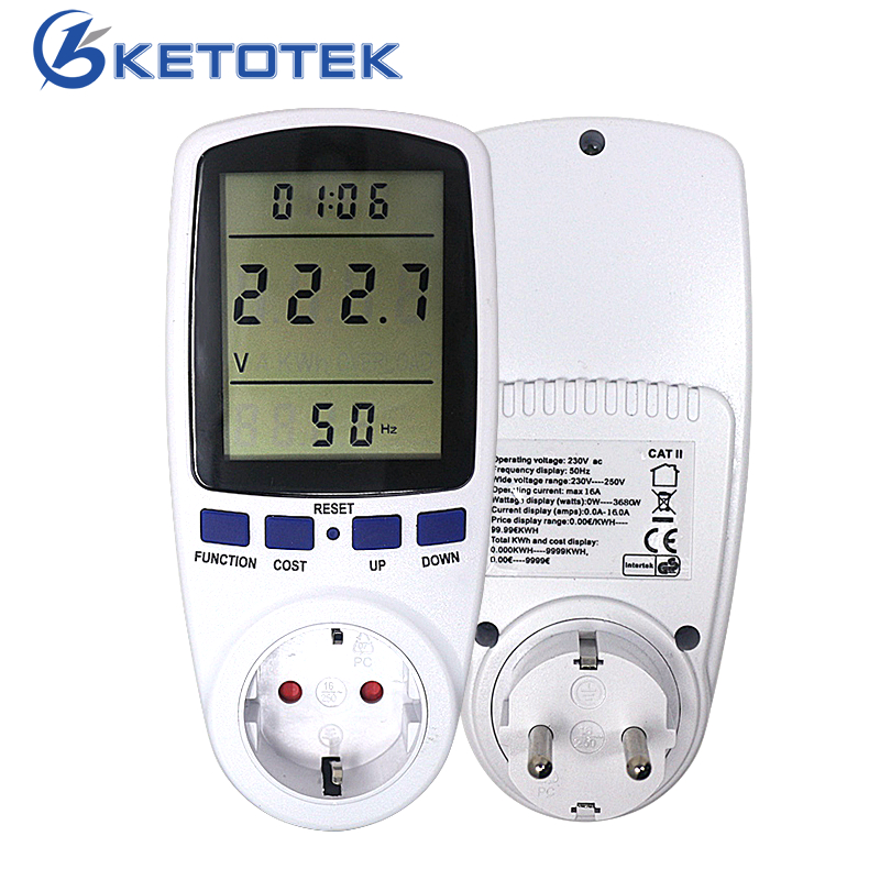 EU/BR AC 230V-250V 110V-130V Power Energy Meter Digital Wattmeter KWh Watt Monitor Socket Analyzer Electrical Measuring Tools