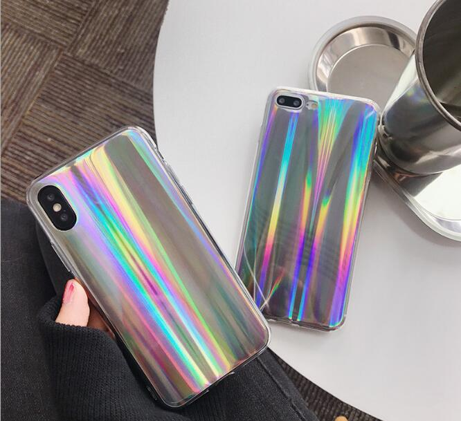 Luxury Chic Laser Shine Phone Case Soft TPU Back Cover For iPhoneX 8 6s 7plus Skinny Shell Casing Body Protection