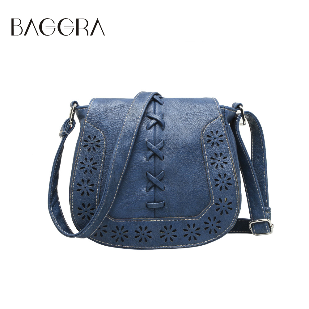Innovative Casual Hollow Out And Buckle Design Women39s Crossbody Bag BLUE In
