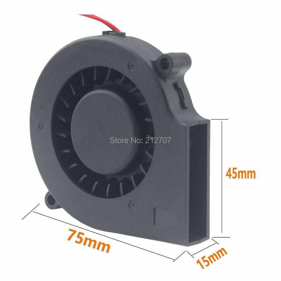 Купить с кэшбэком 1 Pcs Gdstime 75mm x 15mm 7515 Ball Bearing 12V Black Brushless DC Cooling Blower Fan