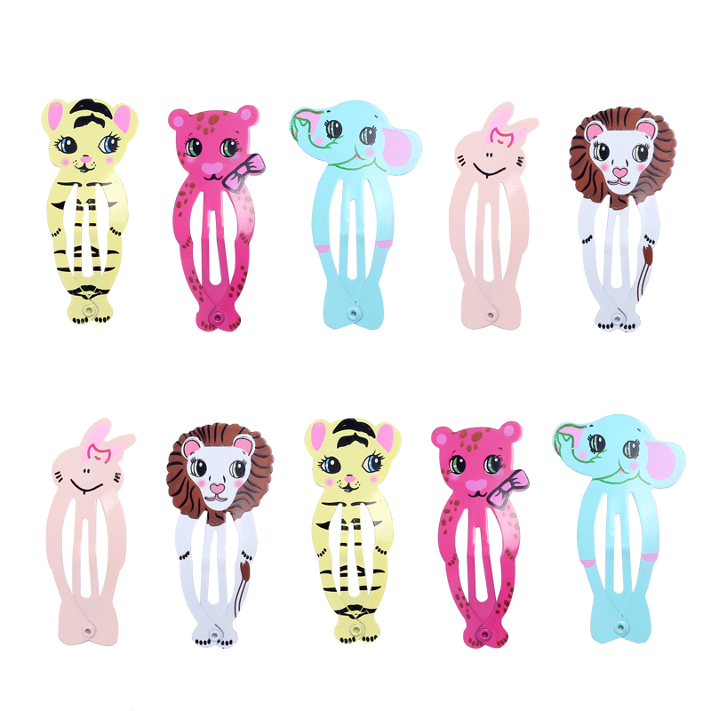 10pcs Snap Hair Clips For Children Hair Pin Baby Girls Hairpins Animal Elephant Tiger Rabbit Cute Hairgrip Metal Color Barrettes
