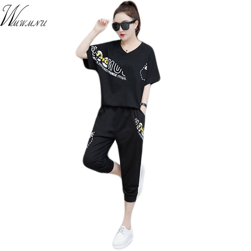 2019 New Summer Women Casual Suits Women's Tracksuits Female Solid Color Short Sleeve Tops And Loose Harem Pants Sportwear 2Pcs