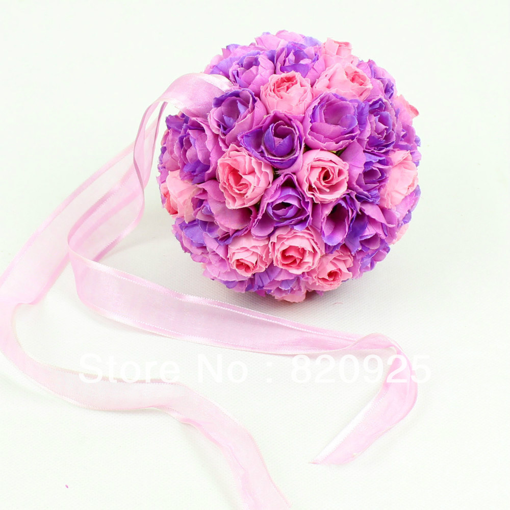 1 X Pink Purple 5inch Kissing Ball Pomander Wedding Flowers Ball