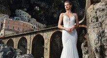 Special Design Mermaid Wedding Dress Sexy Deep V-neck Spaghetti Straps Vestido De Novia Backless Applique NM 579