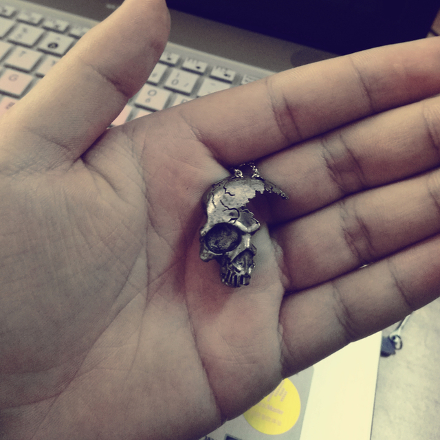 Broken Damaged Half Face Skull Pendant Necklace Men's Fashion Biker Rock Punk Jewelry 3