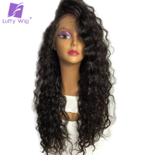 Luffy Pre Plucked Full Lace Human Hair Wigs With Baby Hair Glueless Brazilian Wavy Non Remy Hair Natural Color 130% Density