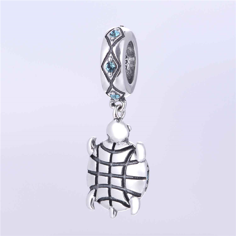 Silver 925 hänge smycken Animal European Charms With Sky Blue Cz - Fina smycken - Foto 2