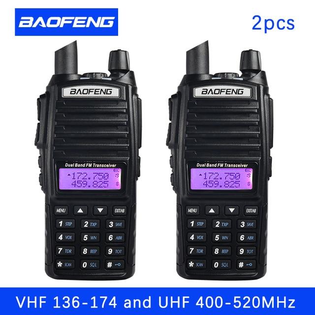 2 pièces BaoFeng UV 82 talkie walkie 5W 8 W U/V Baofeng UV 82 casque talkie walkie 10 KM Baofeng UV82 8 watt Radios uv 9r jambon radio