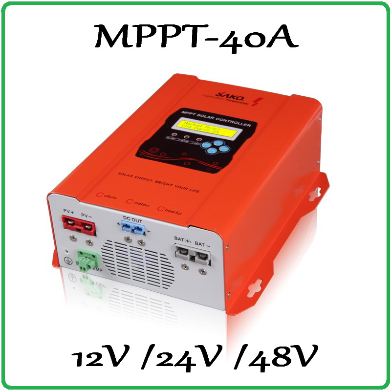 40A Solar Charge Controller MPPT SAKO 150V 40A 12V 24V 48V LCD Solar Panel Battery Charge Charging Controller Regulator