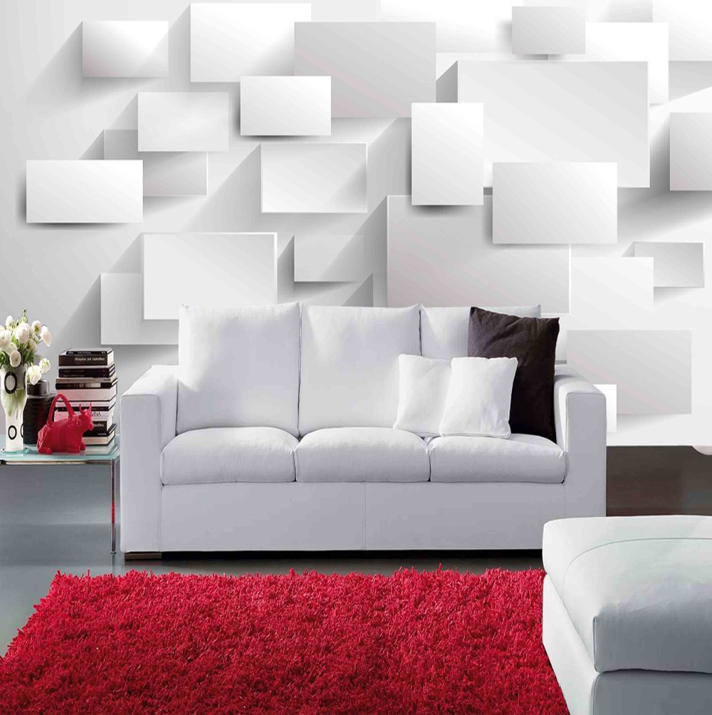 Modern wall murals modern wall coverings - Modern Block Grid 3d Wall Mural Wallpaper For Living Room Tv Sofa Background 3d Photo Mural Papel De Parede Home Decor In Wallpapers From Home Improvement