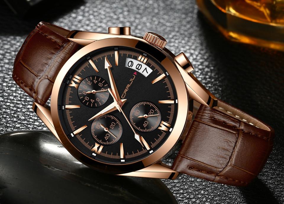 CRRJU Męskie Chronograp Sport Zegarki Luksusowe Złoty Zegarek - Męskie zegarki - Zdjęcie 3