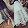 2015 Lady Women Gauze See Through Tulle Skirts Lace Floral Gothic Long Maxi Skirt