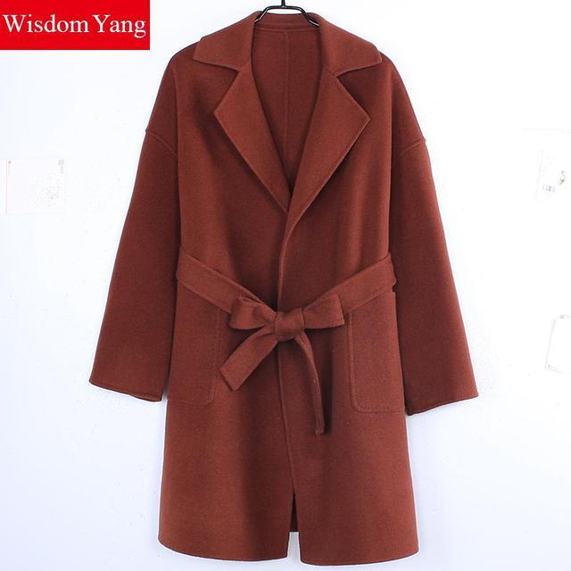 outlet on sale find workmanship cheap sale US $177.02 47% OFF|Winter Coat Caramel Long Sleeve 100% Sheep Wool Womens  Coats 2018 Turndown Belt Slim Office Lady Elegant Trench Woolen  Overcoats-in ...