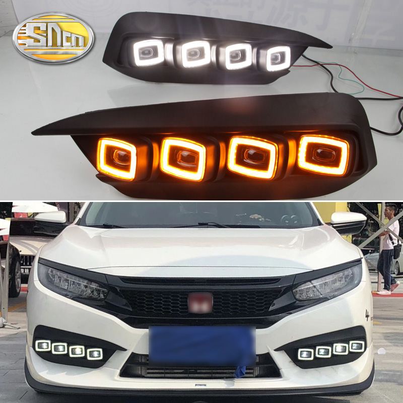 SNCN 2PCS LED Daytime Running Light For Honda Civic 2016 2017 2018 Flowing Turn Yellow Signal Relay Car DRL 12V LED Fog Lamp okeen 2pcs daytime running light for honda grace city 2014 2015 2016 drl white driving lamp amber turn signal light fog lamp 12v