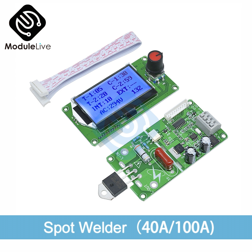 Digital LCD Double Dual Pulse Encoder Spot Welder Welding Machine Time Control Weld Module Board 40A/100A Electronic Controller