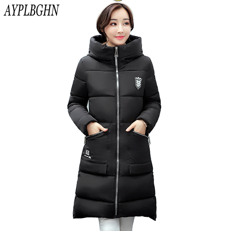 high quality women winter jacket plus size 2017 New womens jacket thick Hooded long Down Cotton Padded Female Coat Parka 7L50 long coat womens jacket new printing was thin down cotton padded thick coat windbreaker