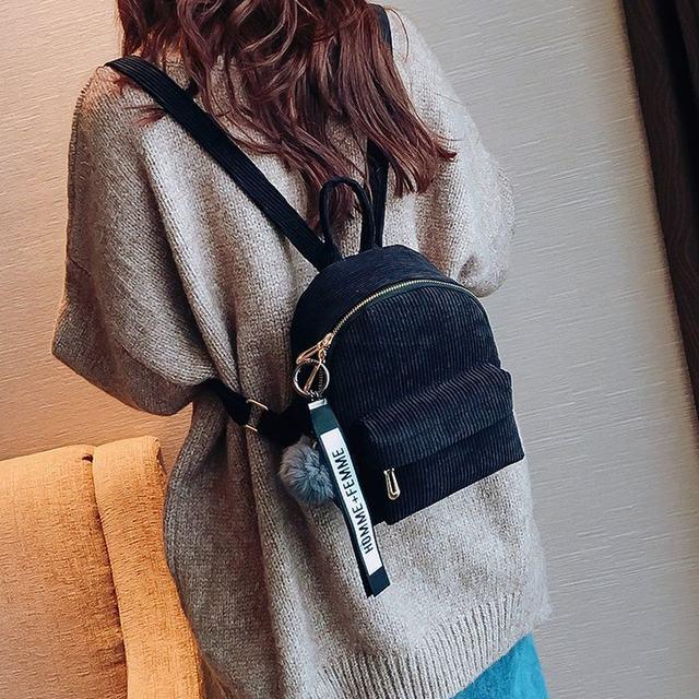 Cute velvet Backpack For Teenagers Children Mini Back Pack Kawaii Girls Kids Small Backpacks female Packbags Fur ball school bag (4)