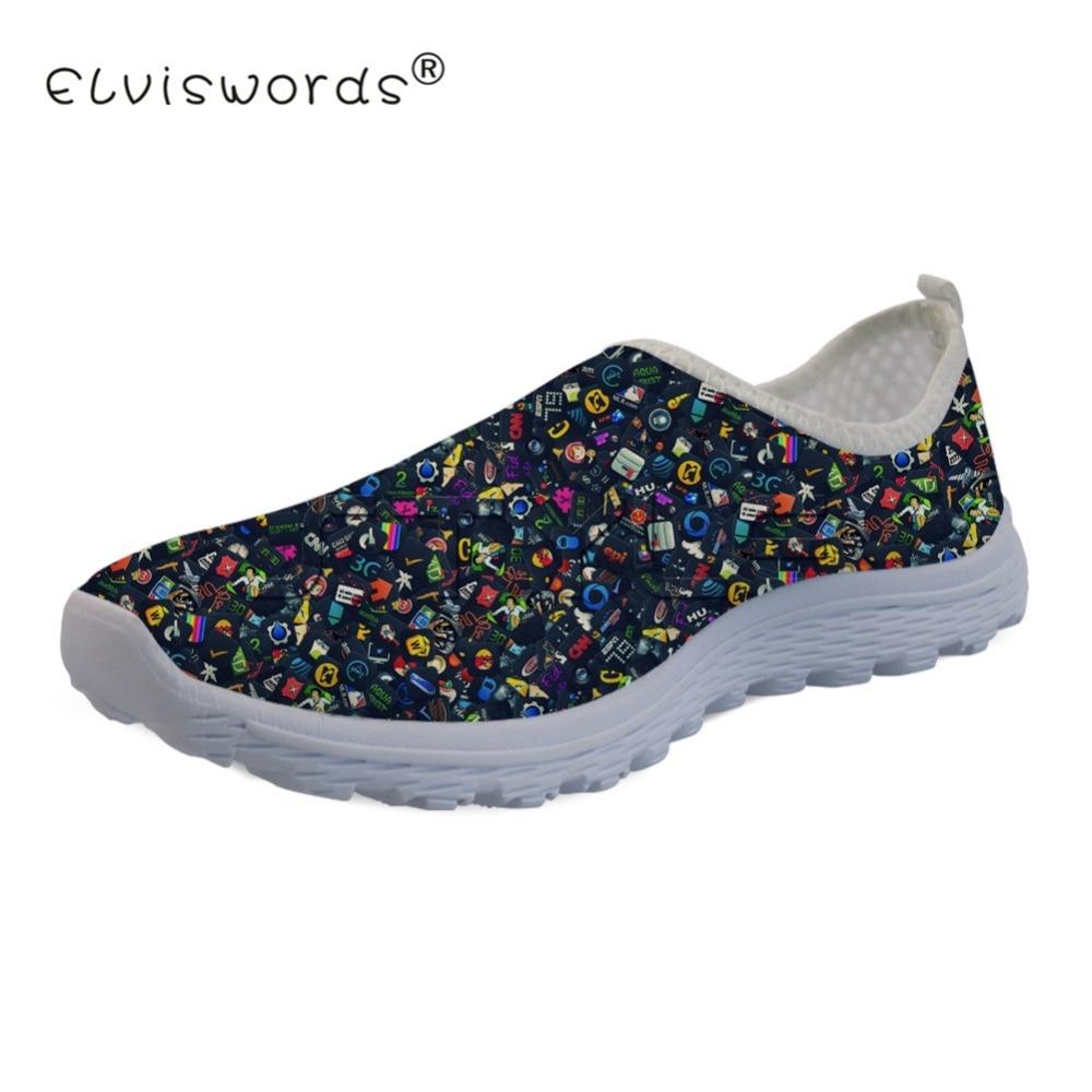 Schneidig Elviswords Frauen Casual Schuhe Flache Crazy Cool Muster Für Damen Schuhe Atmungs Mama Walking Netz Loafer Chaussure Femme QualitäTswaren Flache Damenschuhe