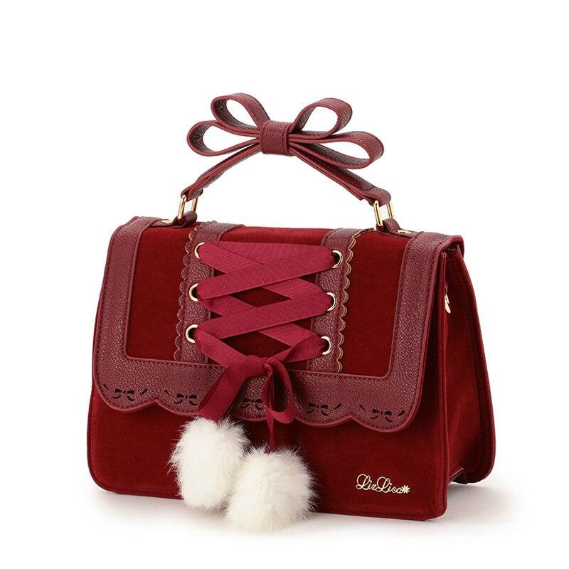 2019 New Fashion Liz Lisa Cute Bow Shoulder Bags Women Sweet Red Handbag Famous Brand Designer Girl Leather Shoulder Bag