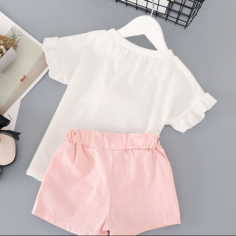 2019 Summer New Fashion 2pcs Baby Girls Clothes Wear 0 24m Ice Cream short sleeved Tops Lace up Pants Toddler Kid Casual Sets in Clothing Sets from Mother Kids