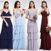 Bridesmaid Dresses Ever Pretty V neck Ruffles Adjustable Spaghetti Straps Cold Shoulder Tiered Chiffon Party Dresses EP07202