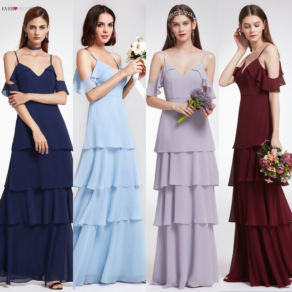 Bridesmaid Dresses Ever Pretty V-neck Ruffles Adjustable Spaghetti Straps Cold Shoulder Tiered Chiffon Party Dresses EP07202