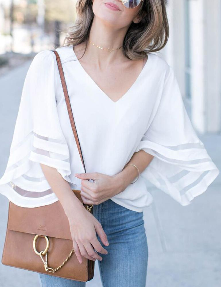 2019 New Yfashion Women Fashionable V neck Loose Type Gauze Stitching Top in T Shirts from Women 39 s Clothing