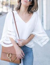 2019 New Yfashion Women Fashionable V-neck Loose Type Gauze Stitching Top