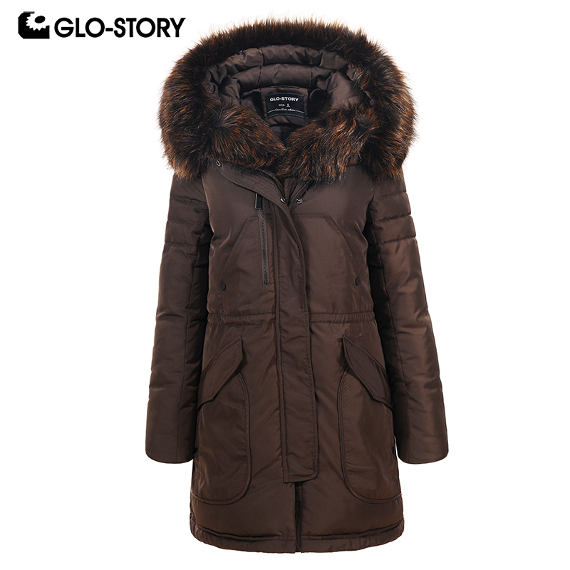 GLO-STORY Women Long Casual Streetwear Thick Warm   Parkas   Woman Adjustable Waist Sashes Winter Coats with Faux Fur Hoodie