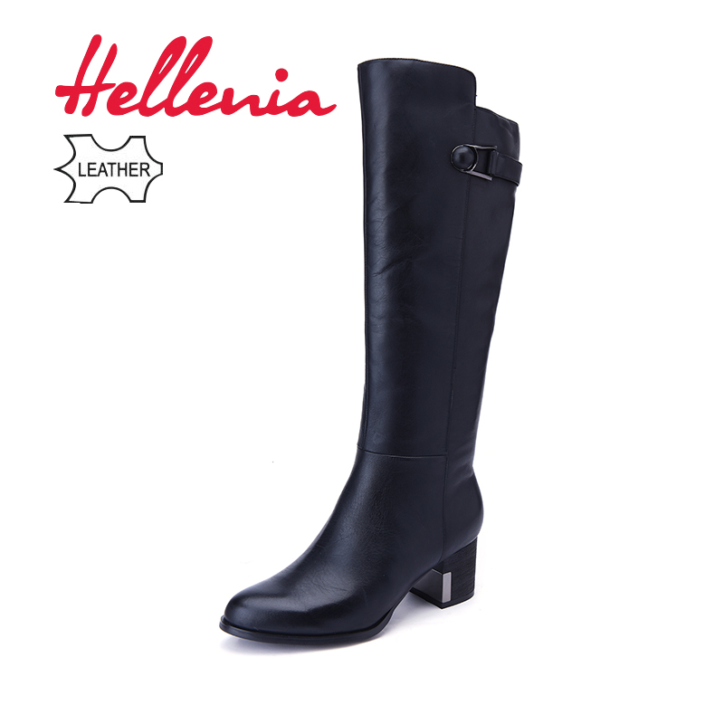 все цены на Hellenia New 2018 Genuine Leather Women Long Boots Spring Winter Fashion short long Plush Plus Big Size shoes Low Heel shoe