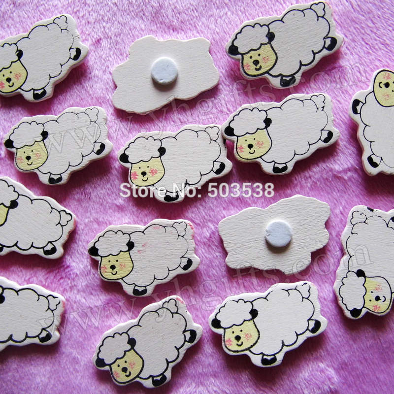 1000PCS/LOT.Wood white sheep stickers,2.5 x 3.3cm.Kids toys,scrapbooking kit,Early educational DIY.Kindergarten crafts.Classic