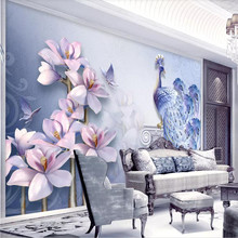 Fresh 3D stereo peacock magnolia TV background wall professional production wallpaper mural custom photo